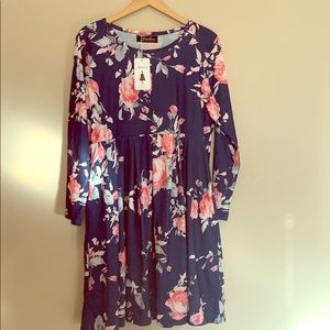 Navy blue dress with pink floral pattern